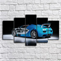 5 Panel Blue Sport Car Bugatti 2014 Wall Art Picture Home Decoration Living Room Canvas Print