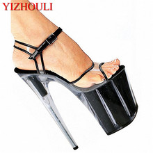 Sexy Stiletto glitter High Heels Open Toe Gladiator Sandals Womens Shoes 20cm High-Heeled Crystal Shoes Platform Dance Sandals platform open toe heeled wedges