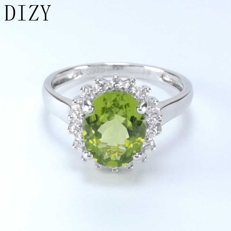 0003f6a4e60f1 DIZY Jewelry Oval 2.9CT Natural Green Peridot Ring 925 Sterling Silver  Gemstone Ring for Women Wedding Gift Engagement Jewelry