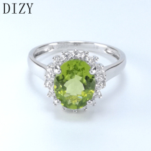 цены DIZY Jewelry Oval 2.9CT Natural Green Peridot Ring 925 Sterling Silver Gemstone Ring for Women Wedding Gift Engagement Jewelry