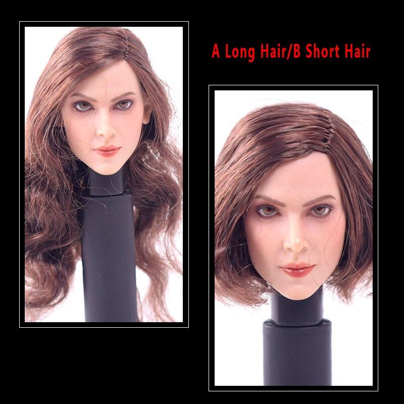 1 6 Scale Accessories Head Sculpt Carving European Female GC004 A Long Curly Hair B Short
