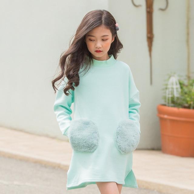 Школьные бархатные толстовки, теплые платья для девочек, прямые флисовые платья для маленьких девочек, зима 2018, розовые, зеленые топы с длинными рукавами