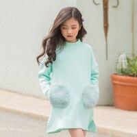 school velvet sweatshirts warm dresses for girls straight fleece toddler girls dresses winter 2018 pink green long sleeve tops