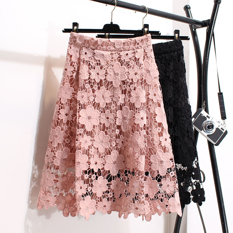 Summer Casual Sweet Lace Skirt Women Mori Girl Bow Thin And Large Swing High Waist Floral Embroidery Female Kawaii Skirt K215 Bottoms Women's Clothing