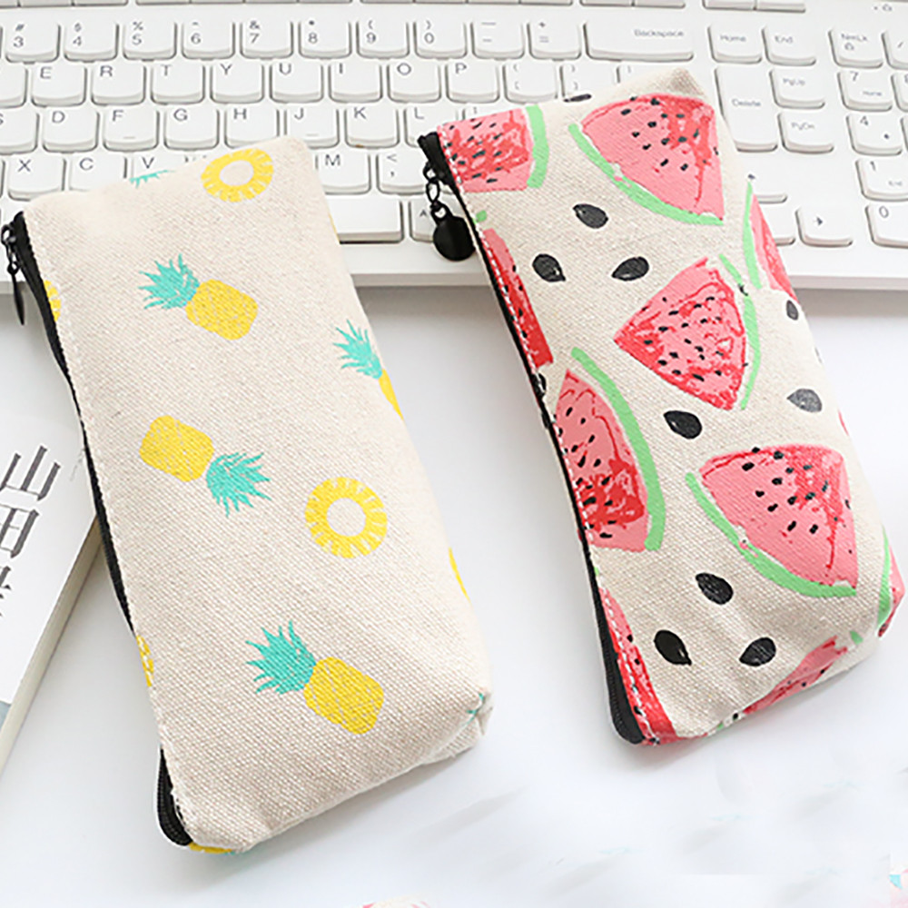 Women Canvas Fruits Stationery Coin Purse Pencil Pen Case Makeup Bag Printing Cute Watermelon pineapple Pouch Case bolsa kawaii cute makeup pouch papelaria maleta maquiagem estuche maquillaje kozmetik bolsos bags cosmeticos bolsa pen pencil bag case dog