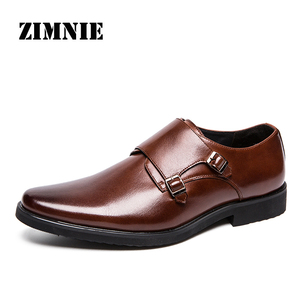 Image 1 - ZIMNIE Brand Men Classic Buckle Thick Bottom Dress Shoes Men Handmade Luxury Formal Business Office Shoes Genuine Leather Shoes