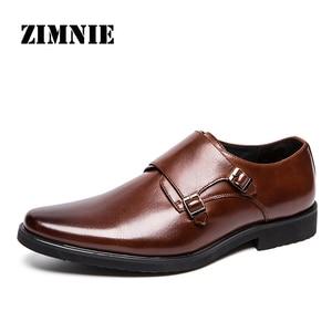 Image 1 - ZIMNIE מותג גברים קלאסי אבזם עבה תחתון שמלת נעלי גברים בעבודת יד יוקרה פורמליות משרד עסקי נעלי עור אמיתי נעליים