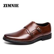 Zimnie ブランド男性クラシックバックル厚い底ドレスシューズ男性ハンドメイドの高級フォーマルビジネスオフィス靴革の靴