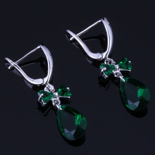 Terrific Water Drop Green Cubic Zirconia 925 Sterling Silver Drop Dangle Earrings For Women V0776 unusual water drop green cubic zirconia 925 sterling silver drop dangle earrings for women v0838