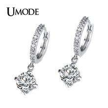 UMODE 2019 Fashion 2 Carat CZ Hoop Earring for Women Zircon Jewelry White Gold Color  Mujer Moda AUE0014 цена