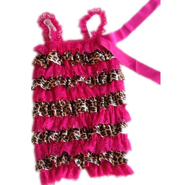 9d644d9e4d14 Cute Baby Petti Lace Romper Hot Pink Lace Leopard Satin Newborn Infant  Jumpsuit Children Clothes Ruffle