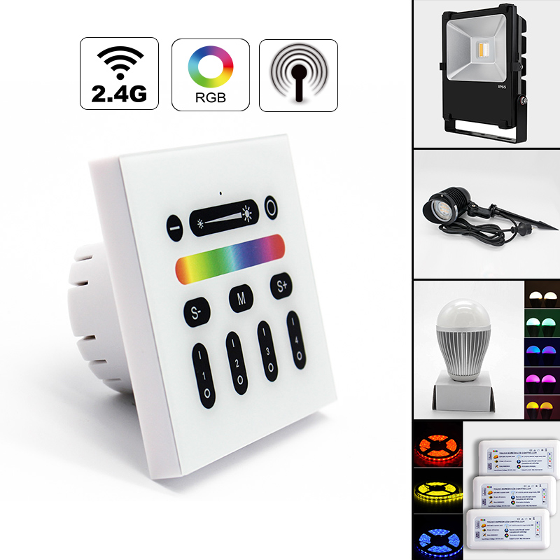 Mi light 2.4G 4-Zone Touch Screen RGB RGBW Led Controller Wireless RF Remote Controller for Mi Light Led Bulb Led Strip Light milight remote wifi 4x rgbw led controller group control 2 4g 4 zone wireless rf touch for 5050 3528 rgbw led strip light
