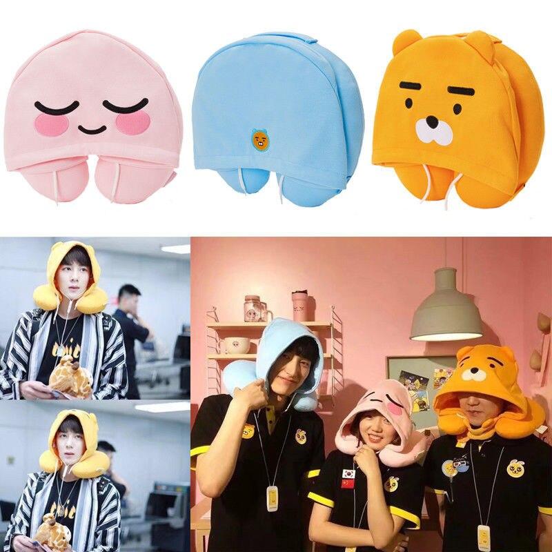 SHINEHENG Ryan Apeach U Type Plush Pillow With Hat Cocoa Friends Korean Cartoon Doll PP Cotton & Stuffed Cosplay Hat Pillow