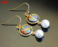 Cloisonne hand painted enamel European style earrings 4