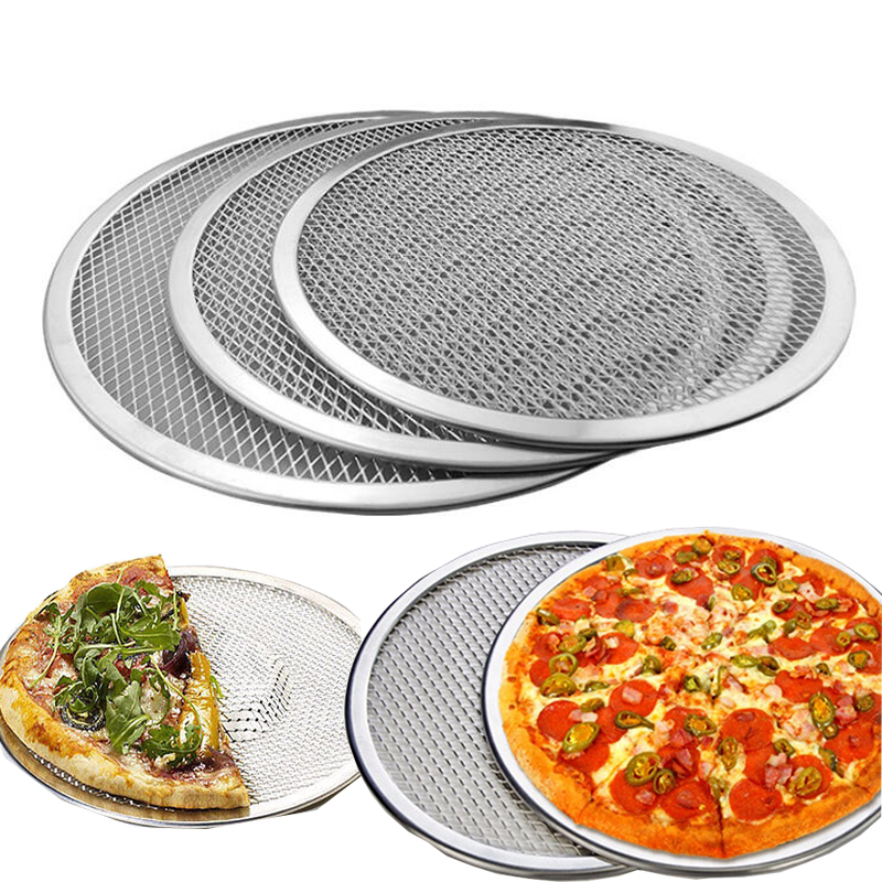 Us 1259 101214inch Aluminium Flat Mesh Pizza Screen Oven Baking Tray Net Bakewave Cookware Kitchen Baking Tool In Pizza Tools From Home Garden