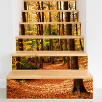 6pcs Hot 3D Stairs Sticker Autumn Forest Pvc Wall Sticker Removable Waterproof Mural Stair Poster Room Decals Home Decoration