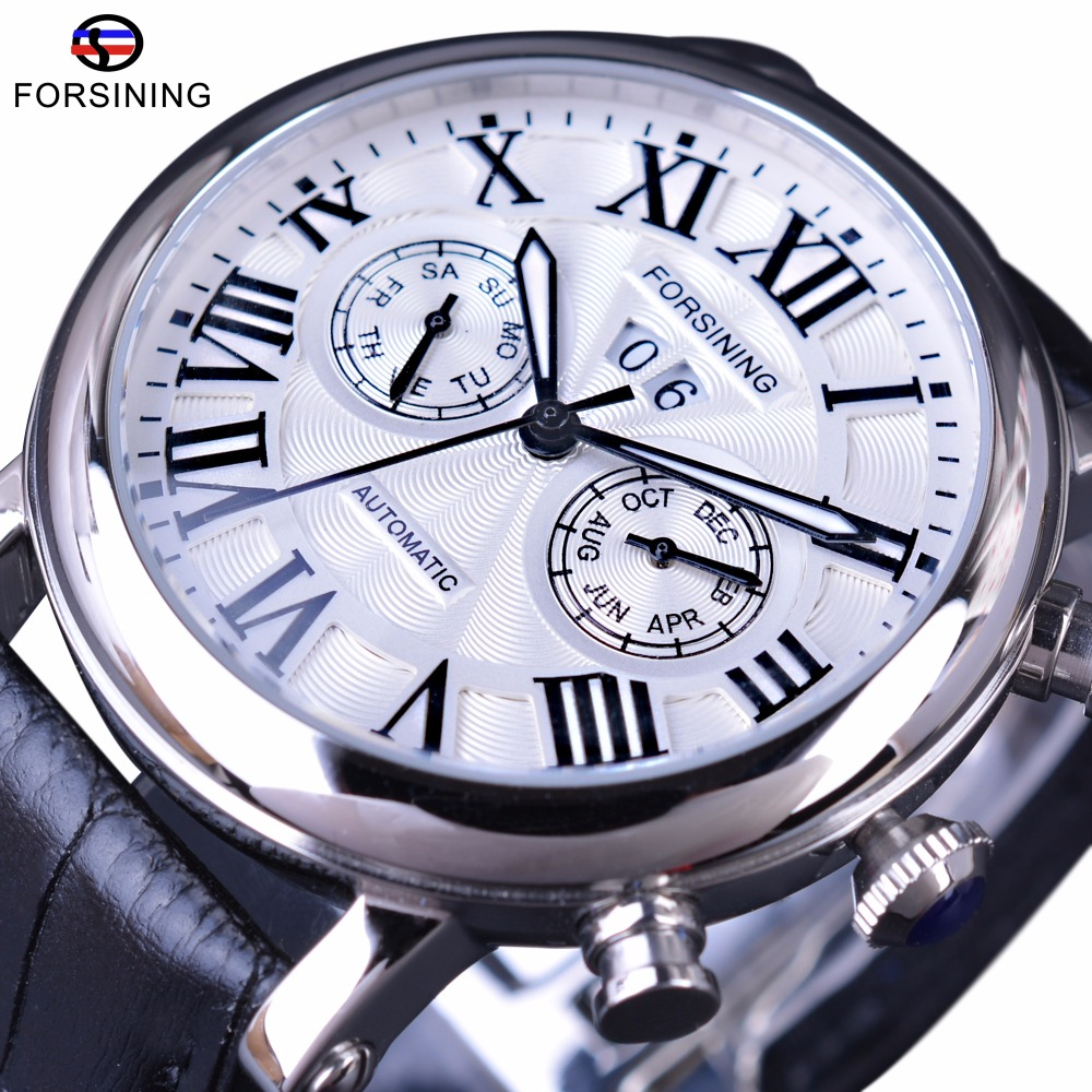 Forsining 2017 Classic Series Roman Number Calendar Hardlex Glass Waterproof Men Watch Top Brand Luxury Fashion Automatic Watch