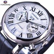 Forsining 2017 Serie Classic Número Romano Calendario Cristal de Zafiro Resistente Al Agua Reloj Para Hombre de Primeras Marcas de Lujo Relojes Automáticos