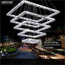 Plaza Crystal LED Luz de Techo Fixture 5 Cuadrados de Cristal Iluminación de La Escalera para el Hotel, pasillo, Villa