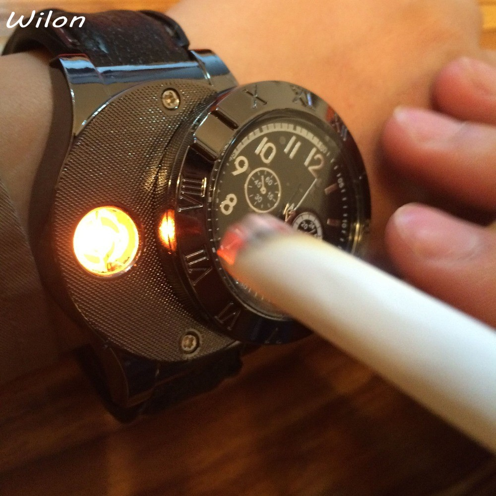 DHL Hot Military USB Charging sports Lighter Watch Men s Casual Quartz Wristwatches with Windproof Flameless