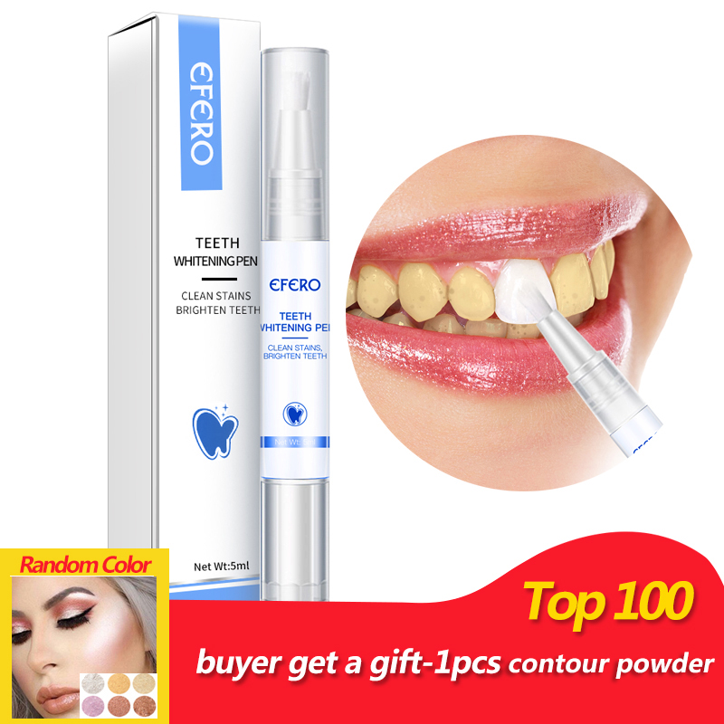 EFERO Teeth Whitening Pen Gel Whitener Tooth Bleaching Tools Remove Plaque Stains Oral Hygiene Whitening Yellow Teeth Pencil