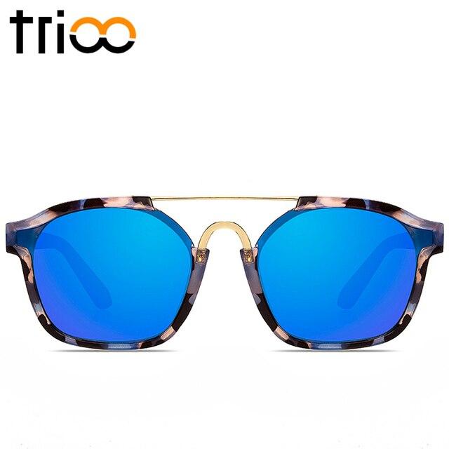 868266d577 TRIOO Sky Blue Mirror Female Sun Glasses Luxury Brand Colorful Lens Lunette  Sunglasses Women High Quality