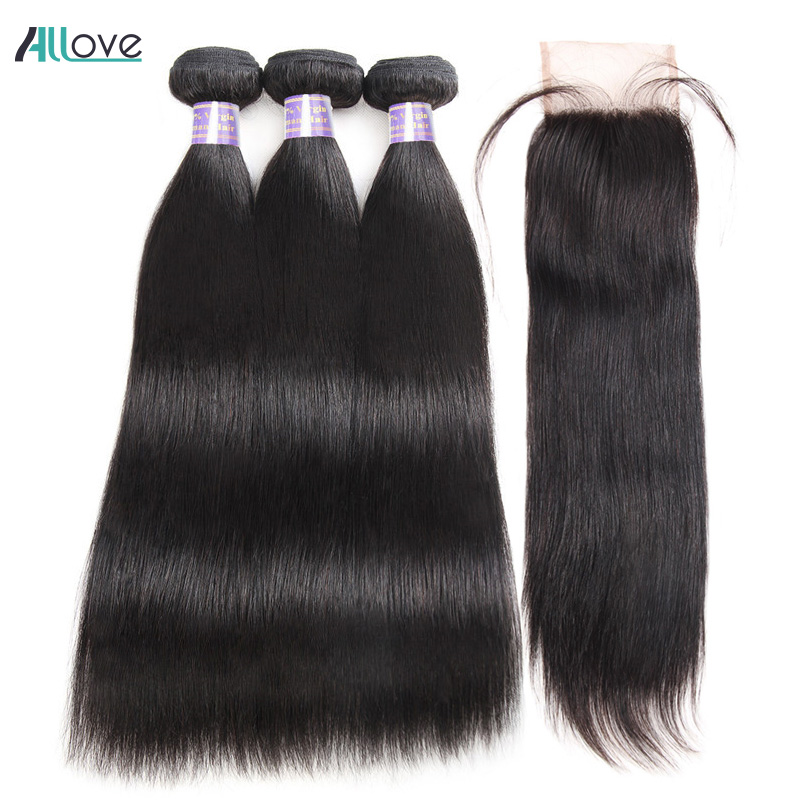 Brazilian Straight Hair Bundles With Closure Middle Part Sew In Hair Weave With Closure Allove Non