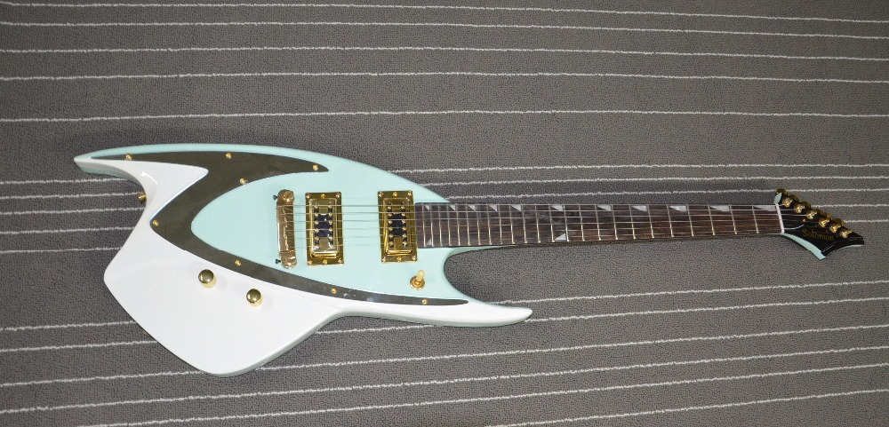 top quality qshelly custom gold pickups tooth inlays sea green fish locking tuners electric. Black Bedroom Furniture Sets. Home Design Ideas
