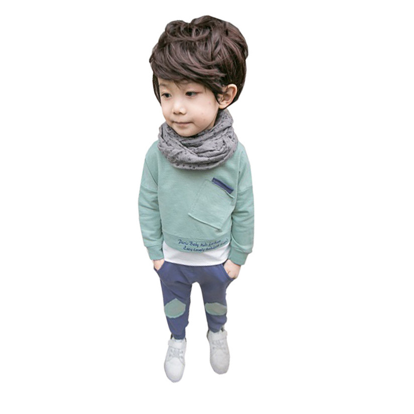 InfantBaby Kids Girls Boys Tops Shirt Pants 2Pcs Set Suit Outfits Clothes loong Sleeve Autumn Spring Fashion Cute Sports suit P3
