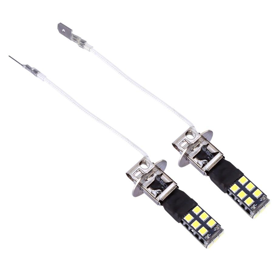 1 Pair H3 <font><b>LED</b></font> Lampe 15W <font><b>Canbus</b></font> High Power For Fog Driving DRL <font><b>LED</b></font> Light Bulb Lamp 2835 chips SMD Bright White Auto Lights 2018