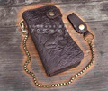 Tiger Vintage Biker Long Genuine Leather Card Houlder Wallet With Chain