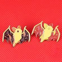 Призрачная летучая мышь Эмаль Булавка Звездная ночь лес брошка «Друзья» милые жуткие значки с животными Хэллоуин ювелирные изделия Пара ночные Совы подарок
