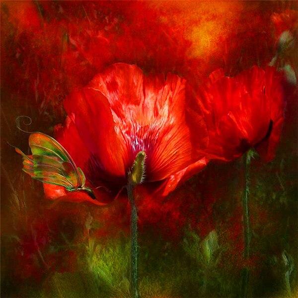 Red poppy kwiaty Wzór Diament SAMODZIELNY Haft Robótki 3D Diament Malarstwo Cross Stitch Pełna Wywiercić Dżetów Malowanie