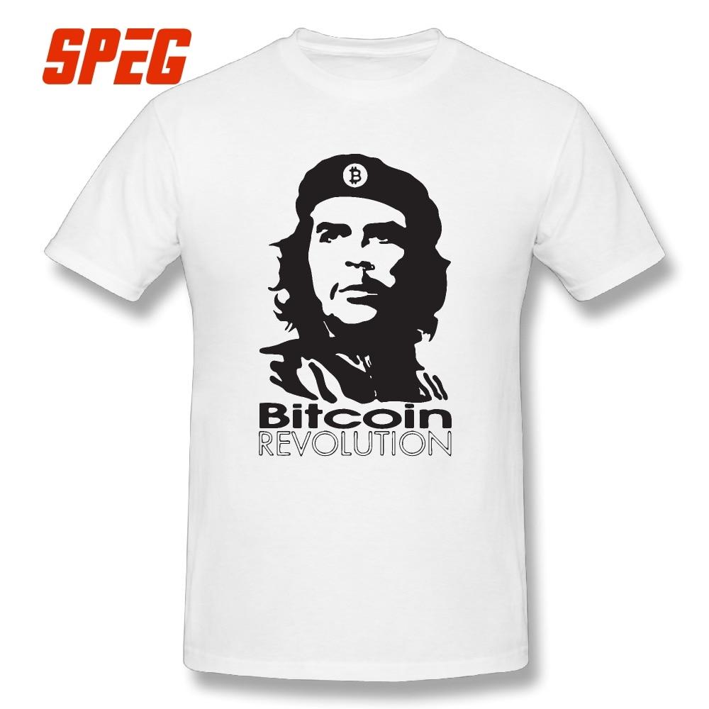 Diseño divertido Bitcoin revolución Ernesto Guevara camiseta Che Guevara Cool camisetas hombres 100% algodón manga corta Tshirs 2017