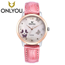 ONLYOU Brand Luxury Women's Watches Leather Casual Quartz Watch Ladies Diamonds Butterfly Animal Watch Women Dress Clock Watch