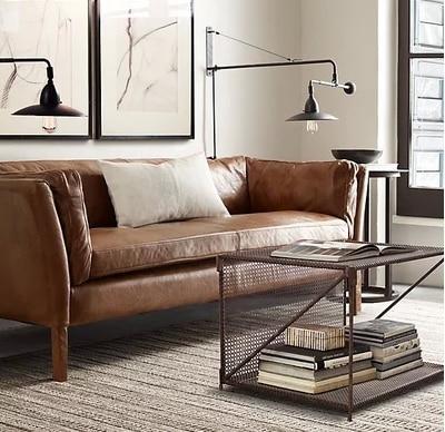 Style Retro Leather Sofa