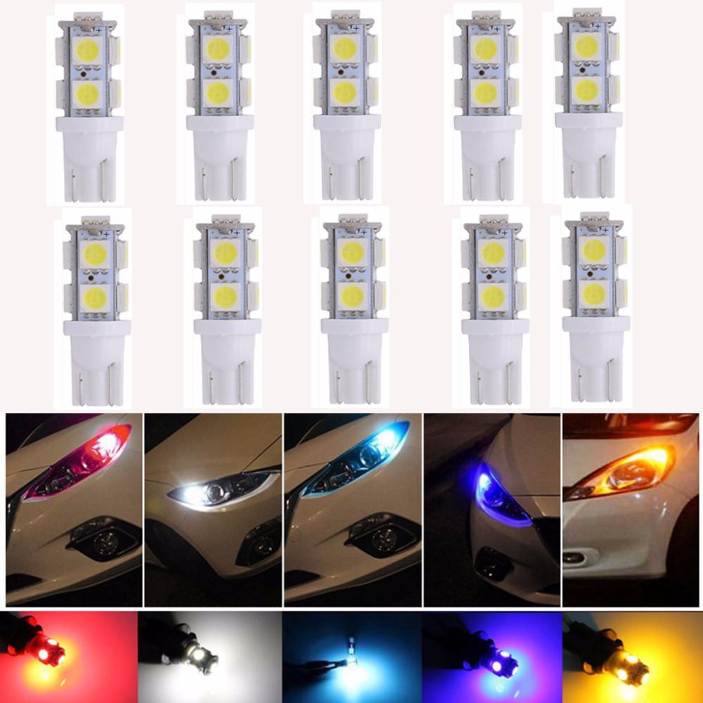 10pcs T10 194 168 168NA 175 2825 W5W 5050 9-SMD Interior Car LED License Plate Lights Side Reverse Door Courtesy Dome Map Lights