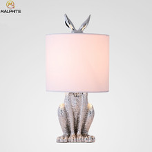 Modern Resin Table Lamps Masked Rabbit Retro Lndustrial Decor Desk Lights Luminaire For Bedroom Bedside Deco Lighting Fixtures(China)