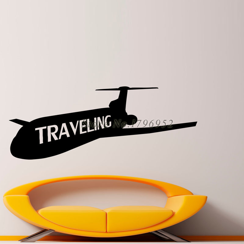 Traveling Airliner Stickers Wall Decals Home Decor Rooms Decorations Removable Vinyl Airplane Silhouette Wall Murals