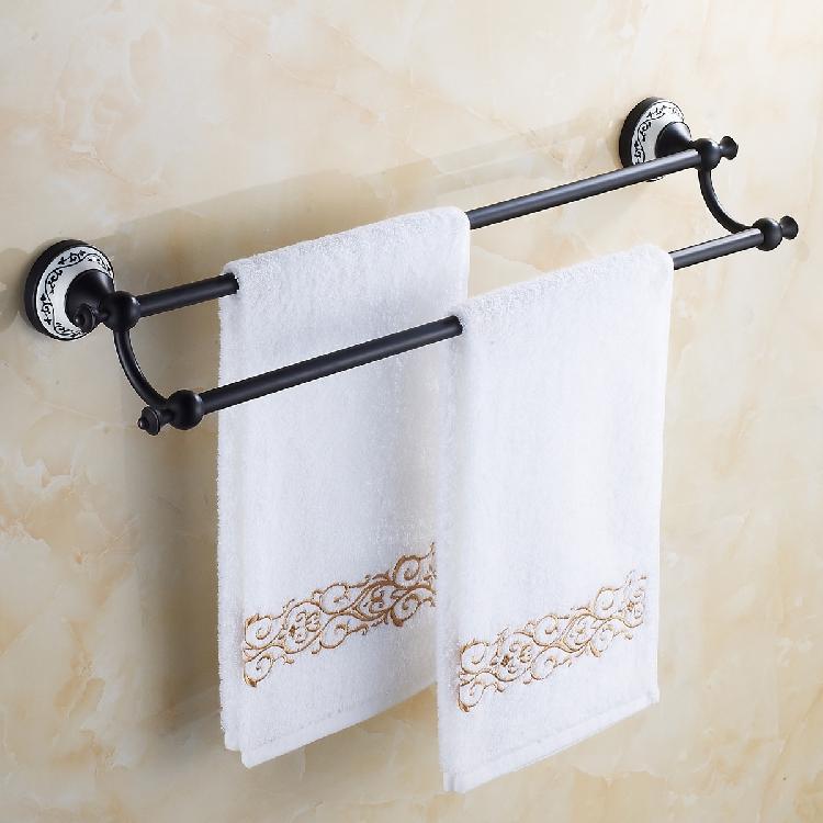 brand new 62.5cm double antique black towel rack, towel holder, bathroom accessory полотенце brand new 1 hair drying towel