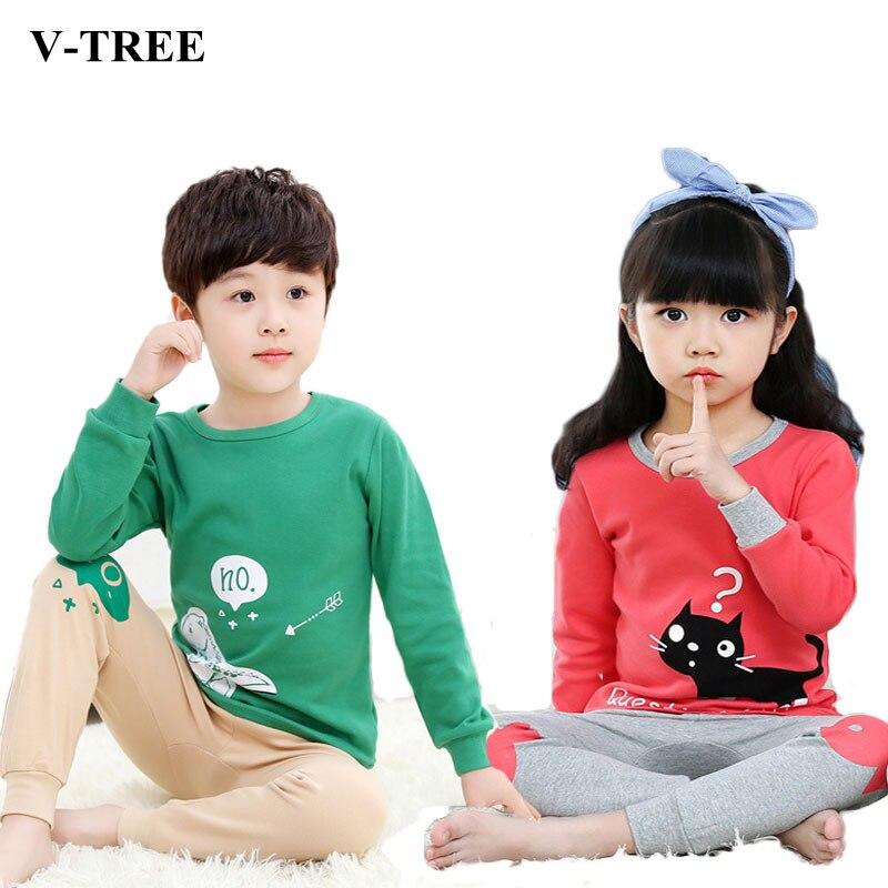 V-TREE Children's Pajamas Cotton Pajamas For Girls Boys Pyjamas Cartoon Baby Sleepwear Kids Pajama Sets иностранка романтический эгоист
