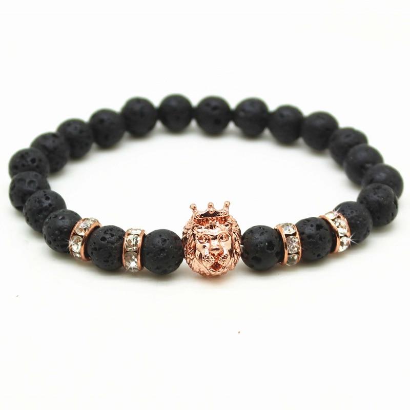 Antique Black Beads Gold and Silver Plated Leo Lion Head Bracelet Men Black Lava Stone Beads Charm Bracelets Jewelry Plusera