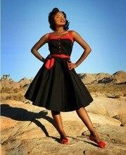 Women Summer 50s Vintage Dress Audrey Hephurn Black and White Chequer Leopard Rockabilly Spaghetti Strap Dress