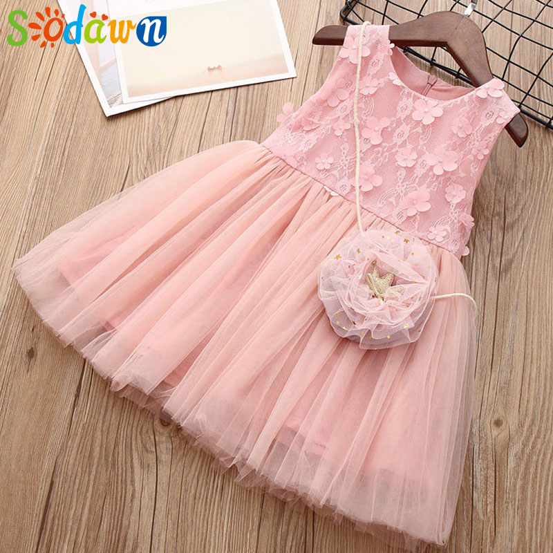 Sodawn 2018 Summer New Girls Clohtes Sweet Lace Flower Patch Sleeveless Patchwork Girl Dress Fashion Sleeveless Princess Dress
