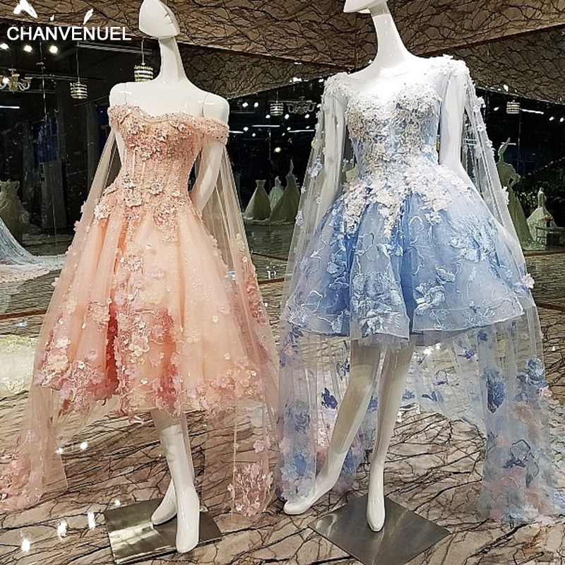 LS00137 Short   Evening     Dress   with Long Cape Lace Up Back Appliques Pink and Blue Prom   Dresses   Abendkleider 2018 Real Photos