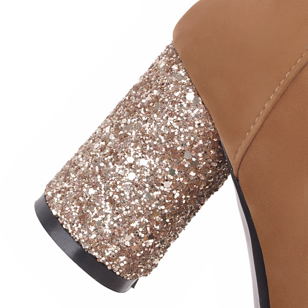 2018 New winter boots shiny bling high heels boots woman ankle boots elegant dress shoes woman ladies boots large size 34-43