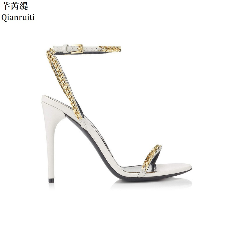 Qianruiti Studded Gold Chains High Heels Sandals Rome Style Stiletto Heels Women Shoes Ankle Buckle Strap Slingback Women Pumps qianruiti orange yellow clear pvc stiletto heels women sandals ankle buckle strap women pumps peep toe cut outs high heels shoes