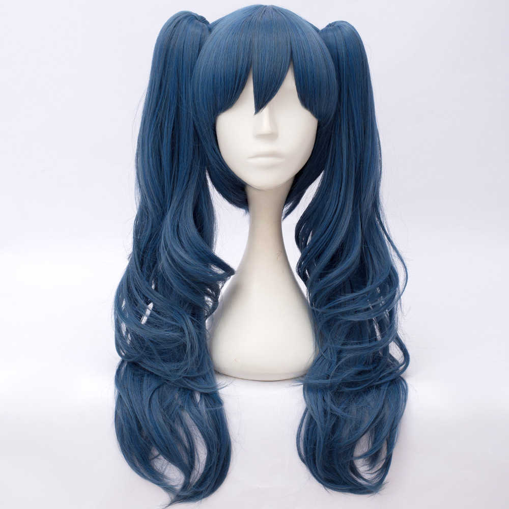 Lolita 30cm Long Ash Blue Wavy Bob Anime Daily Synthetic Hair Cosplay Full Wig + 2 Curly 55cm Ponytails H765387
