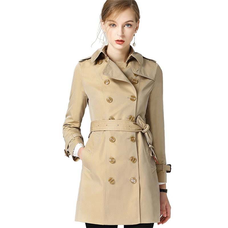Trench   coat for Women 2018 Spring Autumn High quality Waterproof Windbreaker Casual Top Slim Female Discolor   Trench   coat 2035
