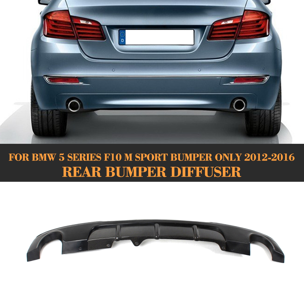 цена на 5 Series Half Carbon Fiber Rear Lip spoiler diffuser for BMW F10 M Sport sedan 12-16 dual exhaust one out 528i 530i 535i 550i